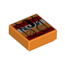 LEGO part  Tile 1 x 1 with Black '3', Red/White Stripes print in Bright Orange/ Orange