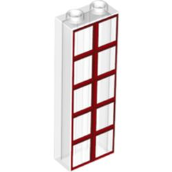 LEGO part 69355 Brick 1 x 2 x 5 with Red Windows print in Transparent/ Trans-Clear