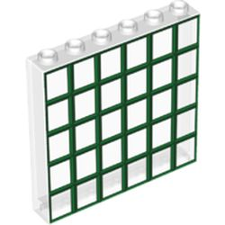 LEGO part 69356 Panel 1 x 6 x 5 with Green Windows Print in Transparent/ Trans-Clear