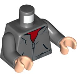 LEGO part  Minifig Torso Hoodie, Zipper, Red Shirt in Dark Stone Grey / Dark Bluish Gray