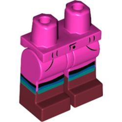 LEGO part  Legs and Hips with Dark Red Boots Pattern and Black/Blue/Dark Turquoise Stripes print in Bright Purple/ Dark Pink