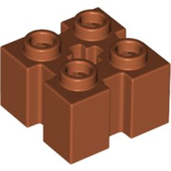 LEGO part  Brick Special 2 x 2 with Grooves and Axle Hole in Dark Orange