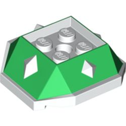 LEGO part 67931 Brick Wedge Sloped 4 x 4 with Diamond Spikes with Green Slopes Print (Bowser Jr Shell) in White