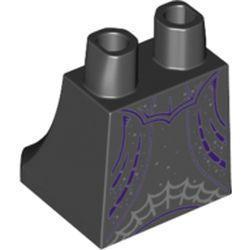 LEGO part 69425 Hips and Legs Under Dress/Robe Dark Purple Trim, Light Bluish Grey Spider Web in Black