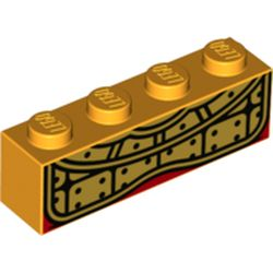LEGO part 69428 Brick 1 x 4 with Gold Decorations print (Monkie King) in Flame Yellowish Orange/ Bright Light Orange