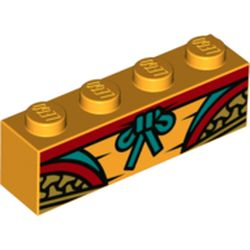LEGO part 69429 Brick 1 x 4 with Gold/Red Decorations, Dark Turquoise Bow in Flame Yellowish Orange/ Bright Light Orange