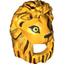 LEGO part  Minifig Mask Lion with Reddish Brown/Gold Manes, Black Eyes in Flame Yellowish Orange/ Bright Light Orange