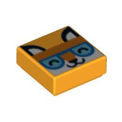 LEGO part 69454 Tile 1 x 1 with White Fox, Bright Orange Head Band, Dark Azure Eyes print in Flame Yellowish Orange/ Bright Light Orange