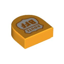 LEGO part 69456 Tile 1 x 1 Half Circle with Shield, Orange 'Route BFF' print in Flame Yellowish Orange/ Bright Light Orange