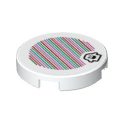 LEGO part 69464 Tile Round 2 x 2 with Bottom Stud Holder with Peepa and Barcode Print (Sticker) in White
