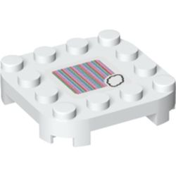 LEGO part 69465 Plate Round Corners 4 x 4 x 2/3 Circle with Reduced Knobs and Cloud and Barcode Print (Sticker) in White