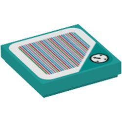LEGO part 69501 Tile 2 x 2 with Groove with Clock and Barcode Print (Sticker) in Bright Bluish Green/ Dark Turquoise
