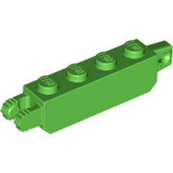 LEGO part 54661 Hinge Brick 1 x 4 Locking with 1 Finger Vertical End and 2 Fingers Vertical End with 7 Teeth in Bright Green