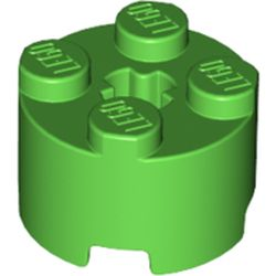LEGO part 6143 Brick Round 2 x 2 with Axle Hole in Bright Green