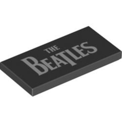 LEGO part 69534 Tile 2 x 4 with The Beatles print in Black