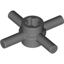 LEGO part  Technic Axle Connector Hub with 4 Bars at 90°, Reinforced Axle Hole in Dark Stone Grey / Dark Bluish Gray