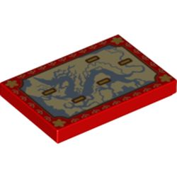 LEGO part 26603pr0044 Tile 2 x 3 with Map with Dragon Shape print in Bright Red/ Red