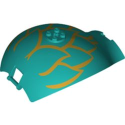 LEGO part 65783pr0001 Panel Curved Tapered with Bars at Each End and Gold Leaves Print in Bright Bluish Green/ Dark Turquoise