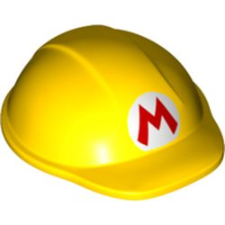 LEGO part 69689 Hard Hat / Construction Helmet, Large with Mario Logo in Bright Yellow/ Yellow