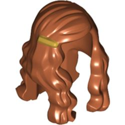 LEGO part  Minifig Hair Long Wave with Gold Clip on Right Side in Earth Green/ Dark Green