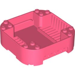 LEGO part 65129 Pod, Square Rounded Corners, Back, 8 x 8 x 2, Corner Studs, and Recessed Slots in Vibrant Coral/ Coral