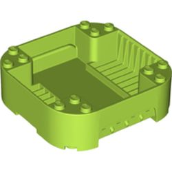 LEGO part 65129 Pod, Square Rounded Corners, Back, 8 x 8 x 2, Corner Studs, and Recessed Slots in Bright Yellowish Green/ Lime