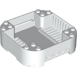 LEGO part 65129 Pod, Square Rounded Corners, Back, 8 x 8 x 2, Corner Studs, and Recessed Slots in White