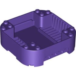 LEGO part 65129 Pod, Square Rounded Corners, Back, 8 x 8 x 2, Corner Studs, and Recessed Slots in Medium Lilac/ Dark Purple