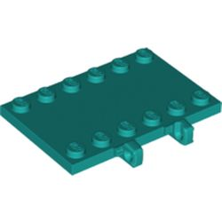 LEGO part 65133 Hinge Plate 4 x 6 with Two 1 x 4 Studs and Recessed 2 x 4 Middle in Bright Bluish Green/ Dark Turquoise