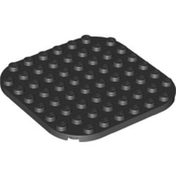 LEGO part 65140 Plate Rounded Corners 8 x 8 in Black