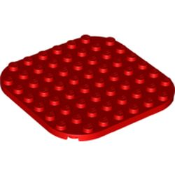 LEGO part 65140 Plate Rounded Corners 8 x 8 in Bright Red/ Red