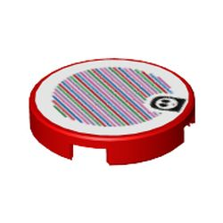 LEGO part 69805 Tile Round 2 x 2 with Bottom Stud Holder and Shy Guy and Barcode Print (Sticker) in Bright Red/ Red