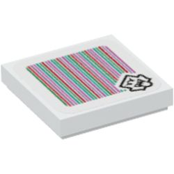 LEGO part 69816 Tile 2 x 2 with Groove and Boo and Barcode Print (Sticker) in White