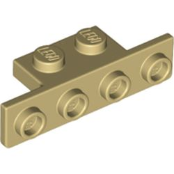 LEGO part 28802 Bracket 1 x 2 - 1 x 4 [Rounded Corners at Bottom, Square Corners at Top] in Brick Yellow/ Tan