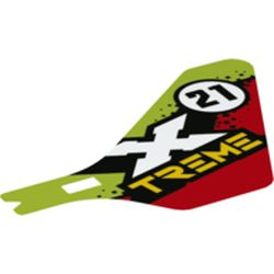 LEGO part  Wing, Tail, with '21' 'X-TREME' on Lime/Red print in none