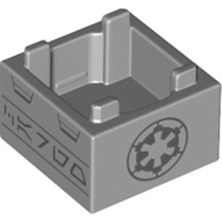 LEGO part 69870 Container Box 2 x 2 x 1 with Dark Bluish Grey Imperial Insignia print in Medium Stone Grey/ Light Bluish Gray