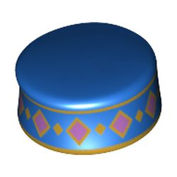 LEGO part  Minifig Kufi with Gold/Medium Lavender Decorations in Bright Blue/ Blue