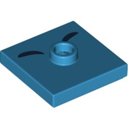 LEGO part 69887 Plate Special 2 x 2 with Groove and Center Stud (Jumper) with Two Black Curved Lines Print in Dark Azure