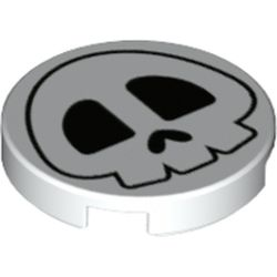 LEGO part 69890 Tile Round 2 x 2 with Bottom Stud Holder with Skull Print in White