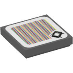 LEGO part 69913 Tile 2 x 2 with TV and Barcode Print (Sticker) in Dark Stone Grey / Dark Bluish Gray