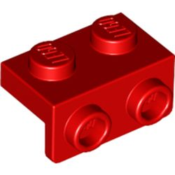LEGO part 99781 Bracket 1 x 2 - 1 x 2 in Bright Red/ Red