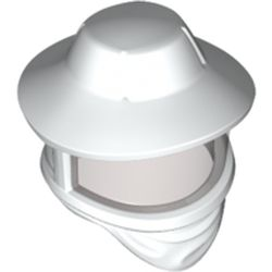 LEGO part  Minifig Headwear Beekeeper Hat, Trans-Black Visor in White