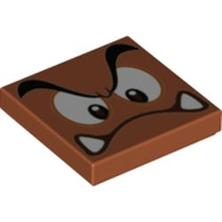 LEGO part 70115 Tile 2 x 2 with Groove with Goomba Face with Low Furrowed Brow and Curved Mouth Print in Dark Orange