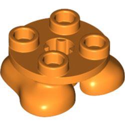 LEGO part 66858 Feet, 2 x 2 x 2/3 with 4 Studs on Top in Bright Orange/ Orange