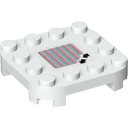 LEGO part 70700 Plate Round Corners 4 x 4 x 2/3 Circle with Reduced Knobs and Double Arrows and Barcode Print (Sticker) in White