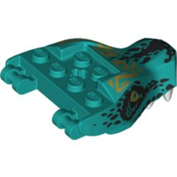 LEGO part 71545pr0001 Creature Body Part, Dragon Head Upper Jaw with Scales and Gold Eyes Print in Bright Bluish Green/ Dark Turquoise