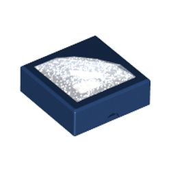 LEGO part 72078 Tile 1 x 1 with Molded Glitter Trans-Clear Diamond in Earth Blue/ Dark Blue