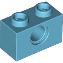 LEGO part 3700 Technic Brick 1 x 2 [1 Hole] in Medium Azure