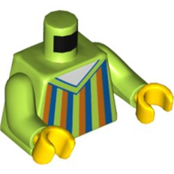 LEGO part 76382 Minifig Torso Blue/Dark Orange /Lime Striped Sweater (Bert) in Bright Yellowish Green/ Lime