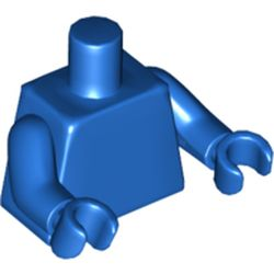 LEGO part  Torso, Blue Arms, Blue Hands [PLAIN] in Bright Red/ Red